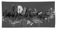 London Black And White Skyline Watercolor Hand Towel