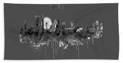 London Black And White Skyline Watercolor Bath Towel