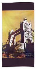 Hand Towel featuring the painting London Bridge- Uk by Ryan Fox