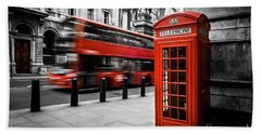 London Bus And Telephone Box In Red Bath Towel