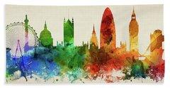 London England Skyline Panorama Gblo-pa02 Hand Towel by Aged Pixel