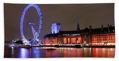 Bath Towel featuring the photograph London Eye By Night by RKAB Works