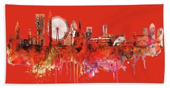 London Skyline Watercolor Hand Towel by Marian Voicu