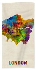 London Watercolor Map Hand Towel