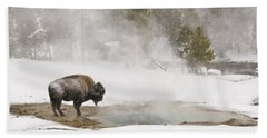 Bath Towel featuring the photograph Bison Keeping Warm by Gary Lengyel
