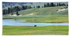 Lone Bison Out On The Prairie Hand Towel