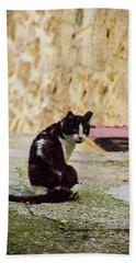 Lone Cat Hand Towel