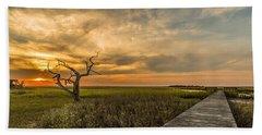 Lone Cedar Dock Sunset - Dewees Island Hand Towel