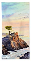 Lone Cypress Tree Pebble Beach Bath Towel by Bill Holkham
