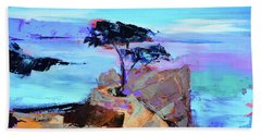 Bath Towel featuring the painting Lone Cypress by Elise Palmigiani