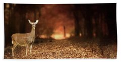 Hand Towel featuring the photograph Lone Doe by Darren Fisher