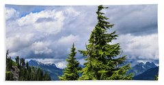 Lone Fir With Clouds Hand Towel