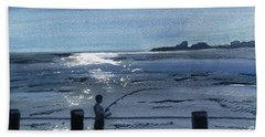 Lone Fisherman On Worthing Pier Hand Towel by Carole Robins