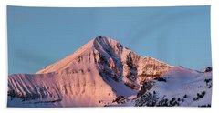 Lone Mountain Alpenglow Panoroama Hand Towel