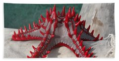 Lone Red Starfish On A Wooden Dhow 3 Hand Towel