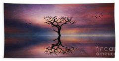 Bath Towel featuring the digital art Lone Tree Sunrise by Ian Mitchell