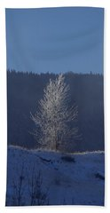 Lonely Frosty Tree Bath Towel