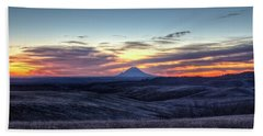 Lonely Mountain Sunrise Hand Towel by Fiskr Larsen