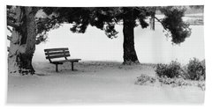 Lonely Park Bench Hand Towel