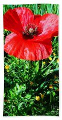Lonely Poppy Hand Towel