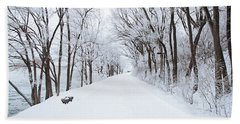 Lonely Snowy Road Bath Towel