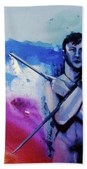 Bath Towel featuring the painting Lonely Warrior  by Rene Capone