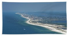 Long, Aerial, Beach View Bath Towel