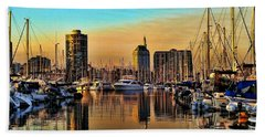 Hand Towel featuring the photograph Long Beach Harbor by Mariola Bitner