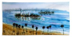 Long Beach Oil Islands Before Sunset Bath Towel