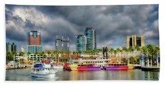 Long Beach Shoreline Marina Hand Towel by Joseph Hollingsworth