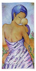 Long Impasto Motherhood Vertical Painting  Bath Towel by Gioia Albano