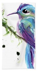 Bath Towel featuring the painting Long-tailed Sylph by Dawn Derman