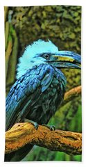 Long Tailed White Crested Hornbill Hand Towel