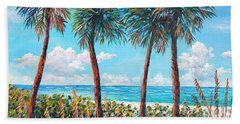 Hand Towel featuring the painting Longboat Key Palms by Lou Ann Bagnall