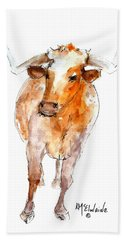 Longhorn 1 Watercolor Painting By Kmcelwaine Bath Towel by Kathleen McElwaine
