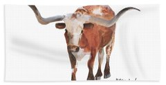 Longhorn 17 Big Daddy Watercolor Painting By Kmcelwaine Hand Towel