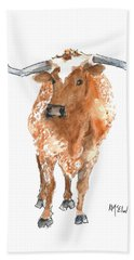 Longhorn 2 Runnin Wild Watercolor Painting By Kmcelwaine Bath Towel by Kathleen McElwaine