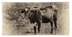 Bath Towel featuring the photograph Longhorn #95 - Sepia #2 by Tim Stanley