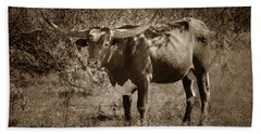 Bath Towel featuring the photograph Longhorn #95 - Sepia by Tim Stanley