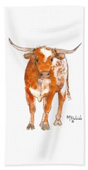 Texas Red Longhorn Watercolor Painting By Kmcelwaine Hand Towel