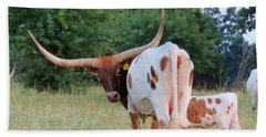 Hand Towel featuring the photograph Longhorn Cattle by Robin Regan
