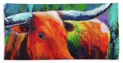 Hand Towel featuring the painting Longhorn Jewel by Karen Kennedy Chatham