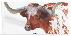 Longhorn Portrait Lh006 Watercolor Painting By Kmcelwaine Bath Towel by Kathleen McElwaine
