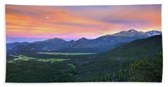 Longs Peak Sunset Bath Towel