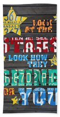 Look At The Stars Coldplay Yellow Inspired Typography Made Using Vintage Recycled License Plates Hand Towel by Design Turnpike