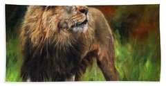 Bath Towel featuring the painting Look Of The Lion by David Stribbling