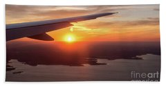 Looking At Sunset From Airplane Window With Lake In The Backgrou Hand Towel