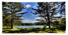 Looking At The Moose River Bath Towel by David Patterson