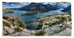 Looking Down On Waterton Lakes Hand Towel