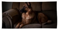 Looking Out The Window - German Shepherd Dog Bath Towel